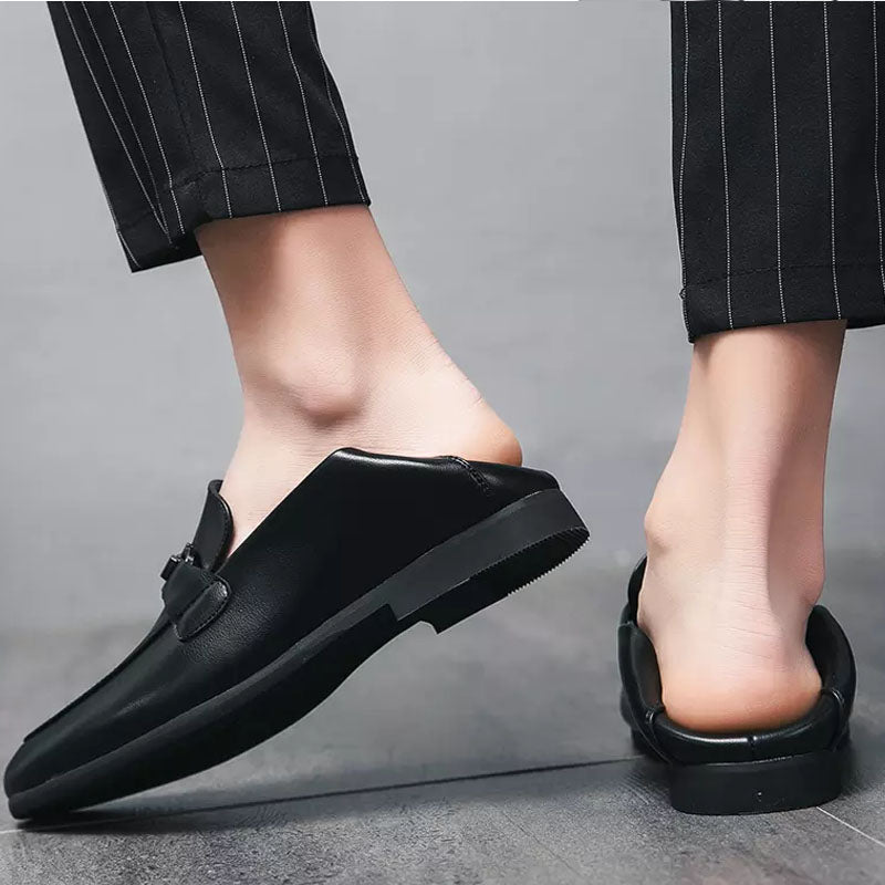 Trendy Baotou Half Drag British Leather Shoes