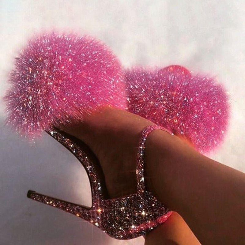 Stiletto Heel Open Toe Rhinestone Sandals