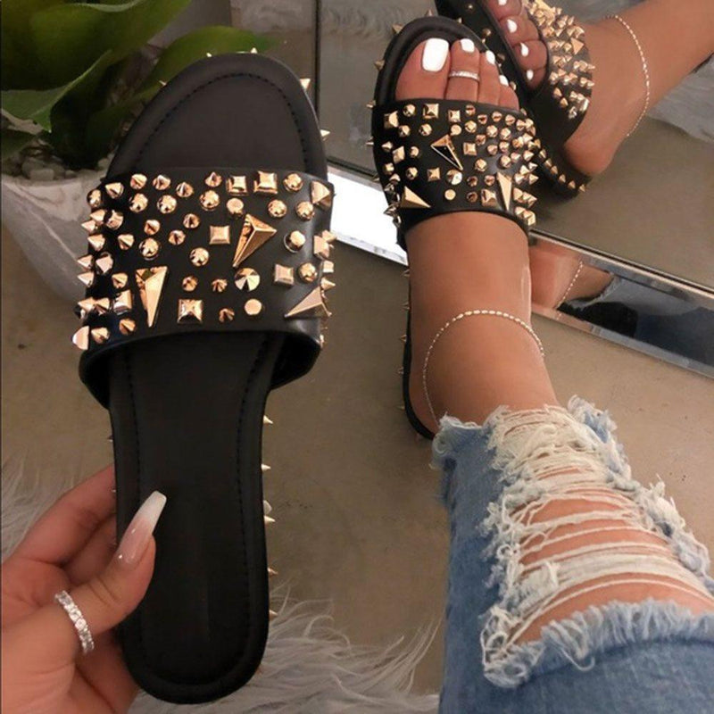 Flip Flop Slip-On Flat With Rivet Slippers
