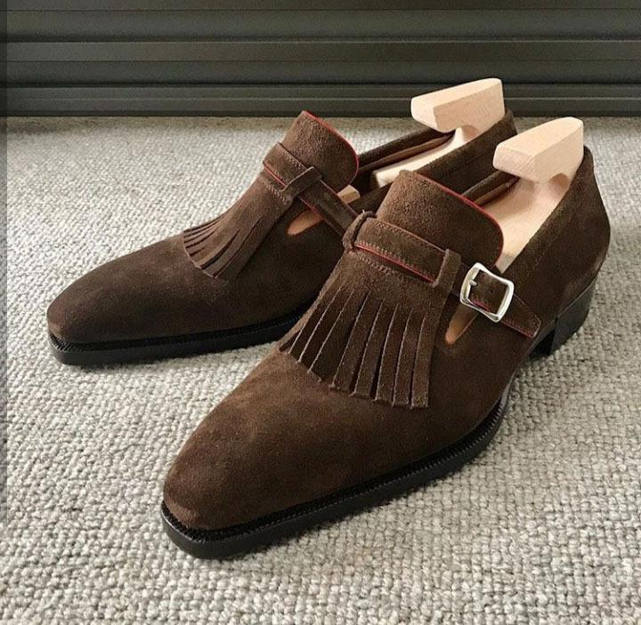 Suede Tassel Buckle Loafer