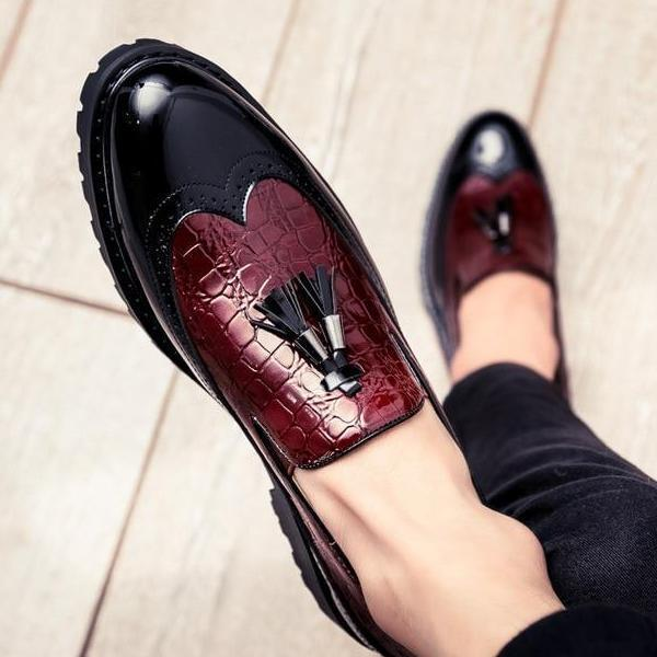 Casual Men's Dress Shoes With Tassel Flat Heel Loafers - Arceey