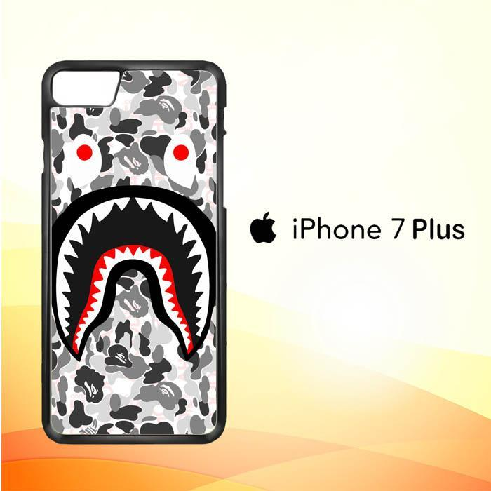 A Bathing Ape White Camo Shark J0025 iPhone 7 Plus Cover Cases