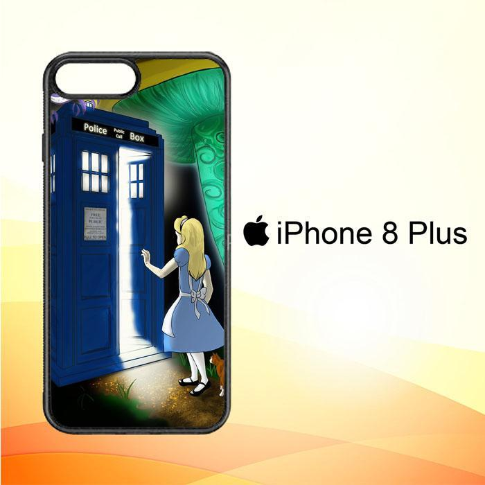 Alice Wonderland On Tardis V1389 iPhone 8 Plus Cover Cases