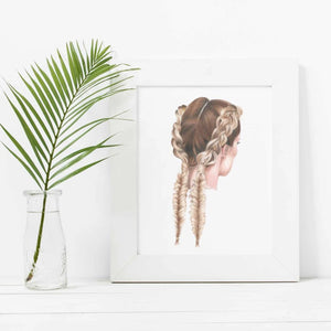 Image of print in a frame of a girls hair braided in double braids, with a green leaf in a vase next to it.
