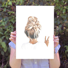 Load image into Gallery viewer, Image of A3 print being held by a person with leaves in the background.