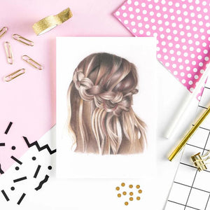 Image of art print of boho braid babe with spotty paper, gold pencils, and pattern in bright pink.
