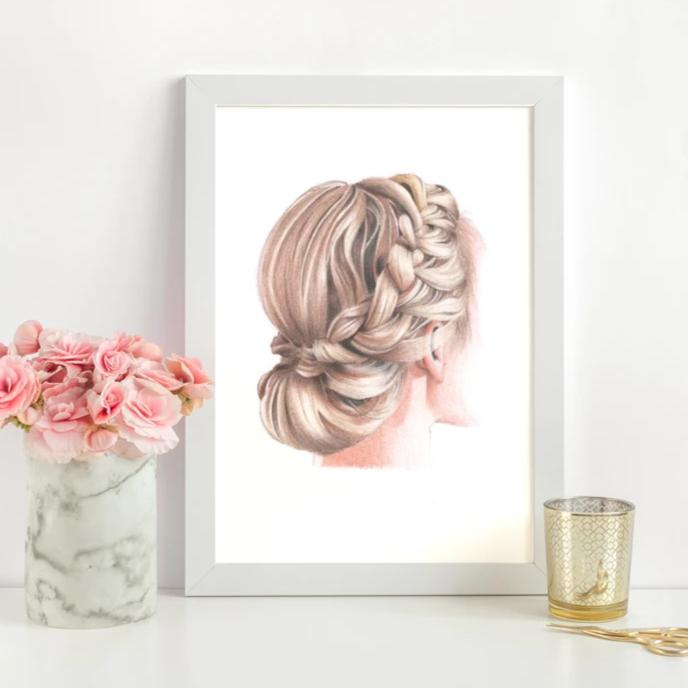 Image of art print of a drawing of a woman with an up do braid low bun, with pink roses and glass next to the frame.