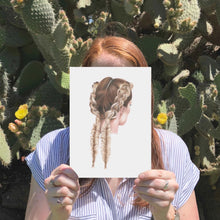 Load image into Gallery viewer, Image of girl holding A4 print of a girl with double braids. Cactus in the background.
