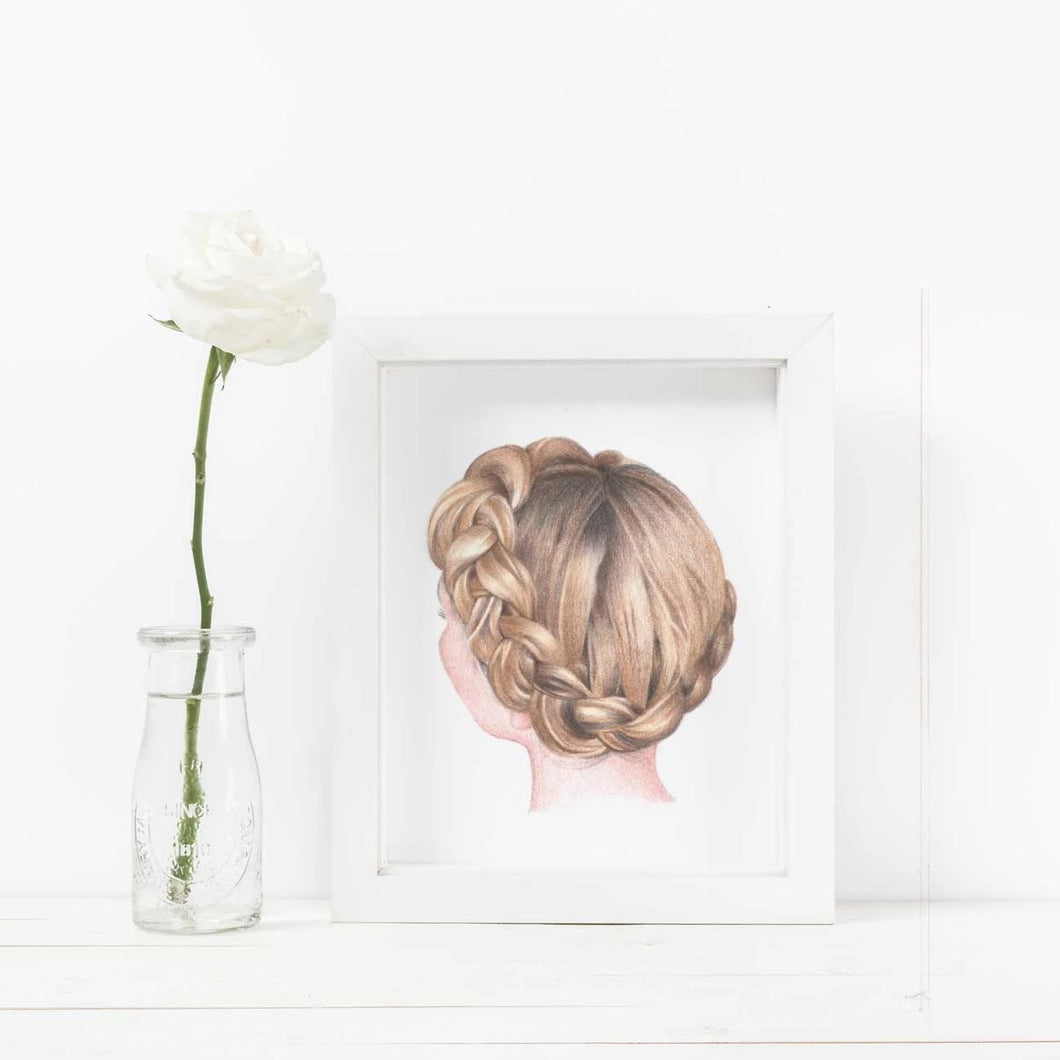 Image of white frame crown braid hair with white rose in water.
