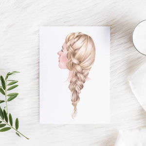 Image of art print of blonde woman with a side braid on a fluffy white rug with a candle and leaf next to it.