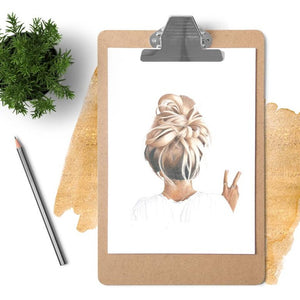 Image of messy bun blonde peace girl print on a clip board with plant and pencil next to it.