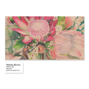 image of wooden plaque with coloured pencil drawing of australian flowers on it.