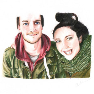 Custom portrait of two people wearing green and hugging.