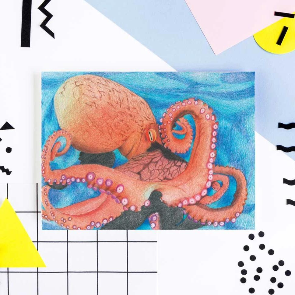 image of octopus art print with a background of spots and various funky shapes.