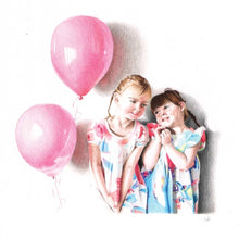 Load image into Gallery viewer, Custom portrait of two girls wearing pink and blue dresses with balloons next to them.