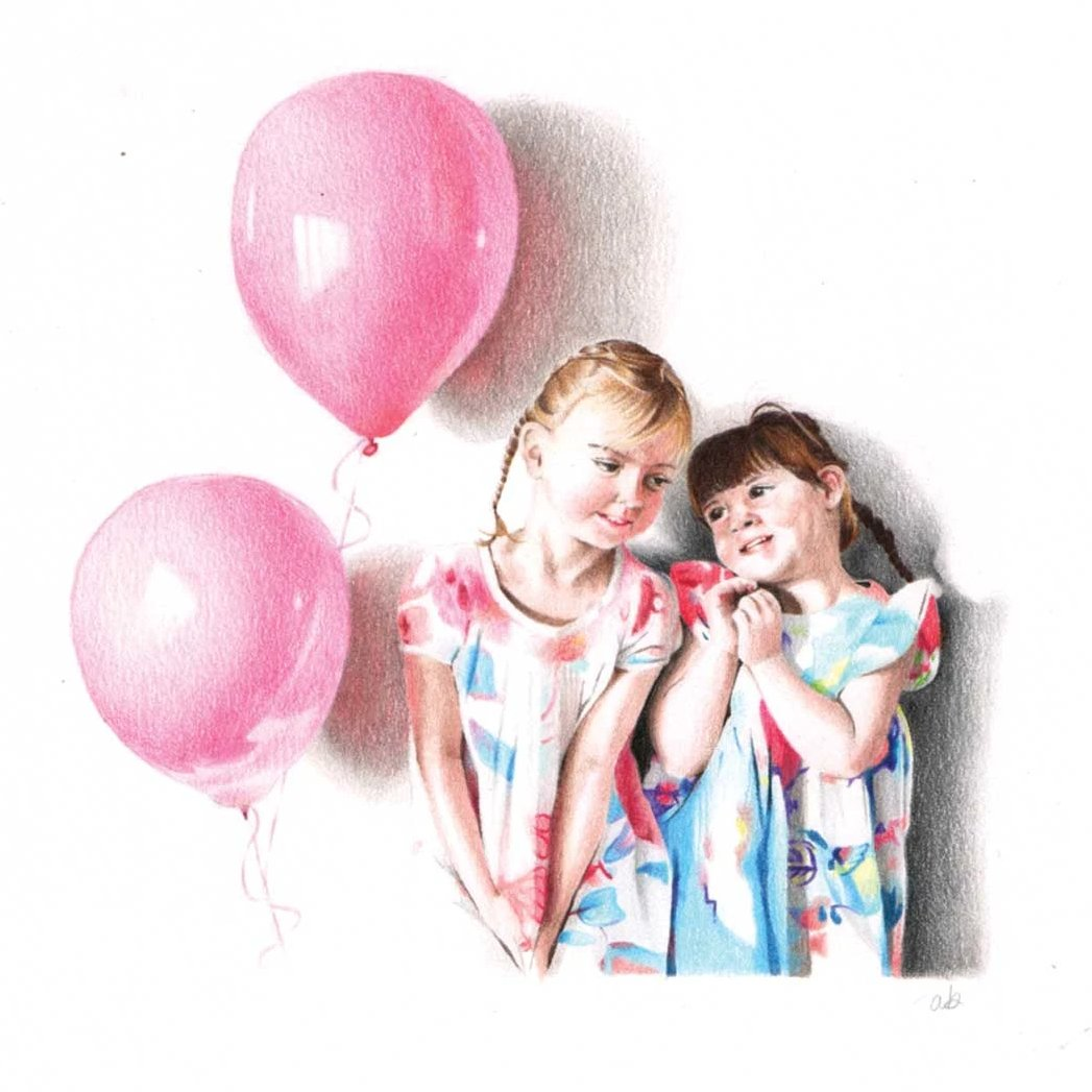 Custom portrait of two girls wearing pink and blue dresses with balloons next to them.