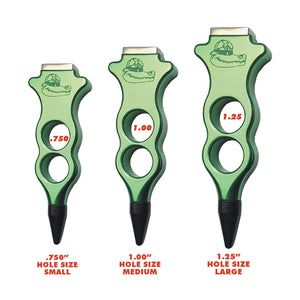 An image with three different sizes of the green aluminum PDR tool, Control Punch™