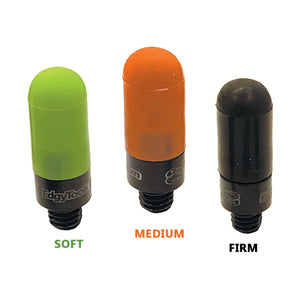 Image of three Thumper Hybrid Tips for PDR work from EdgyTools, each one has a different colored cap on it — green (soft), orange (medium), and black (firm)