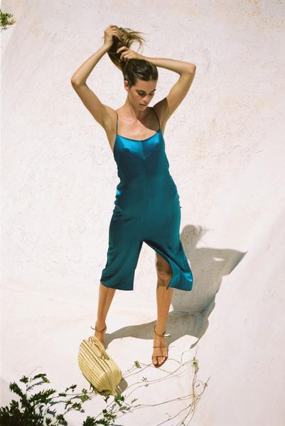 Audrey Midi Slip Dress - Teal
