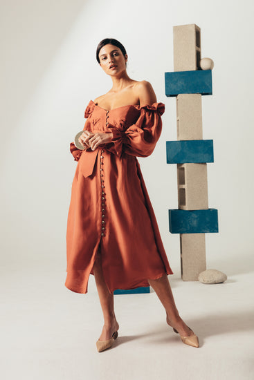 Simona Dress - Terracotta (PREORDER)