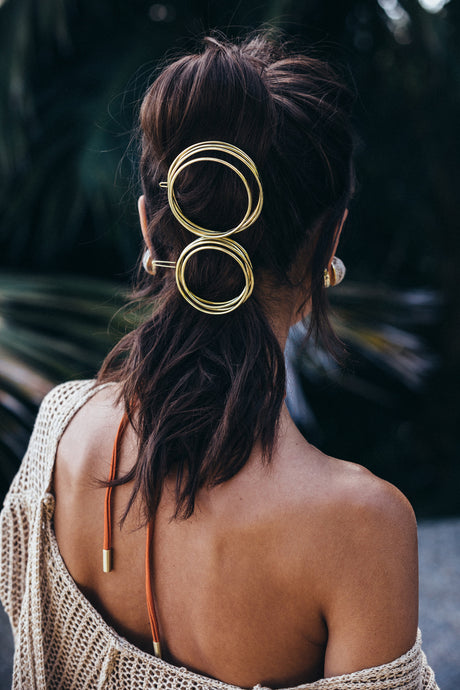 Ines Coiled Barrette Set - Gold