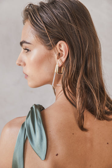 Melina Earring Clear | Delilah Dress Seaspray