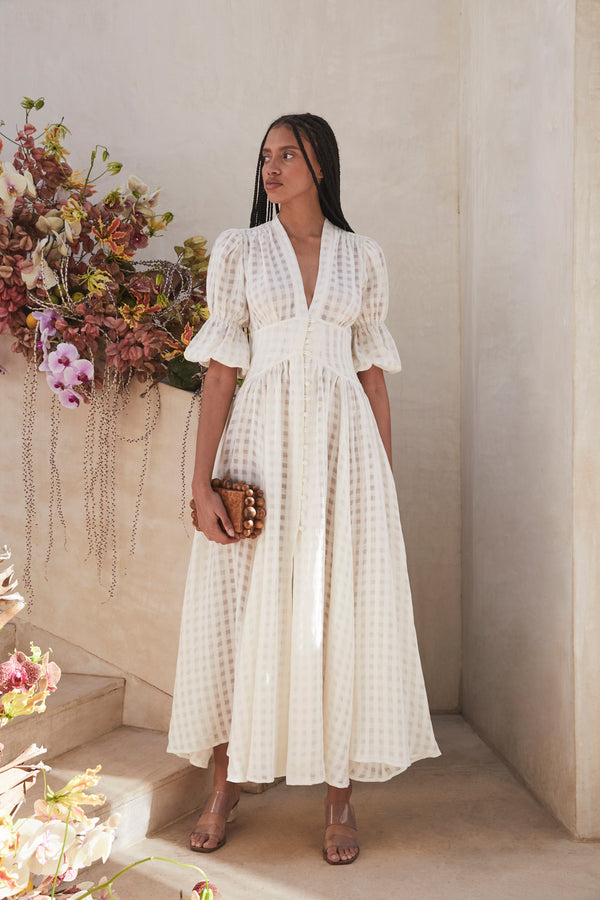 Willow Dress - Off White Grid