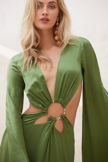 Jasmin Cutout Gown - Leaf