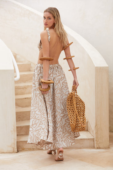 Theia Dress - Sand Multi