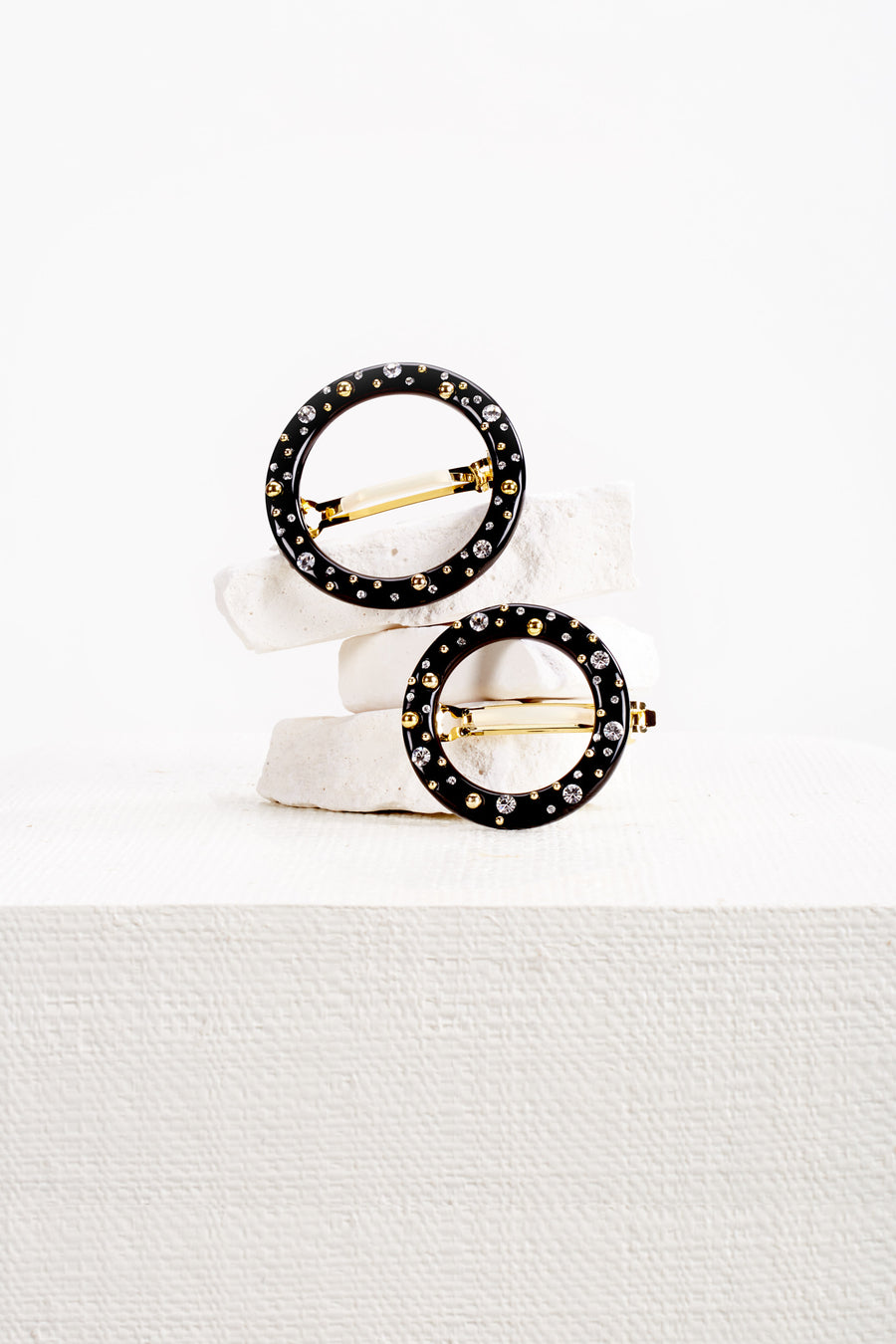 RIA STUDDED BARRETTE SET - BLACK