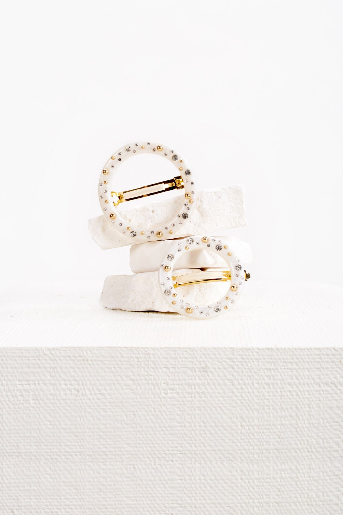 Ria Studded Barrette Set - Pearl