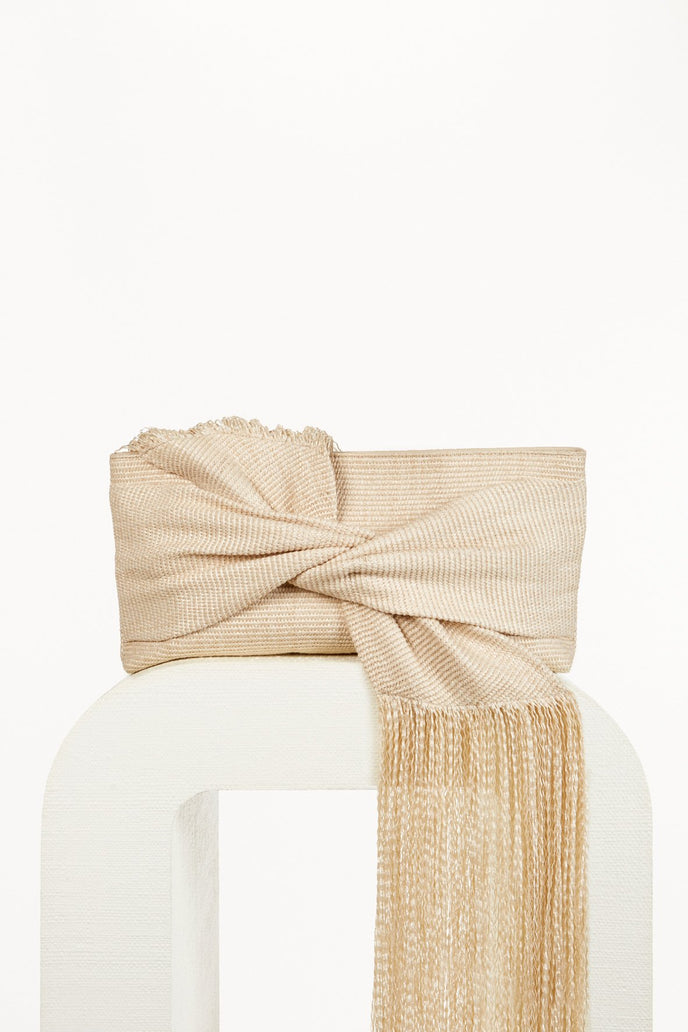 BANU FRINGE CLUTCH - CREAM