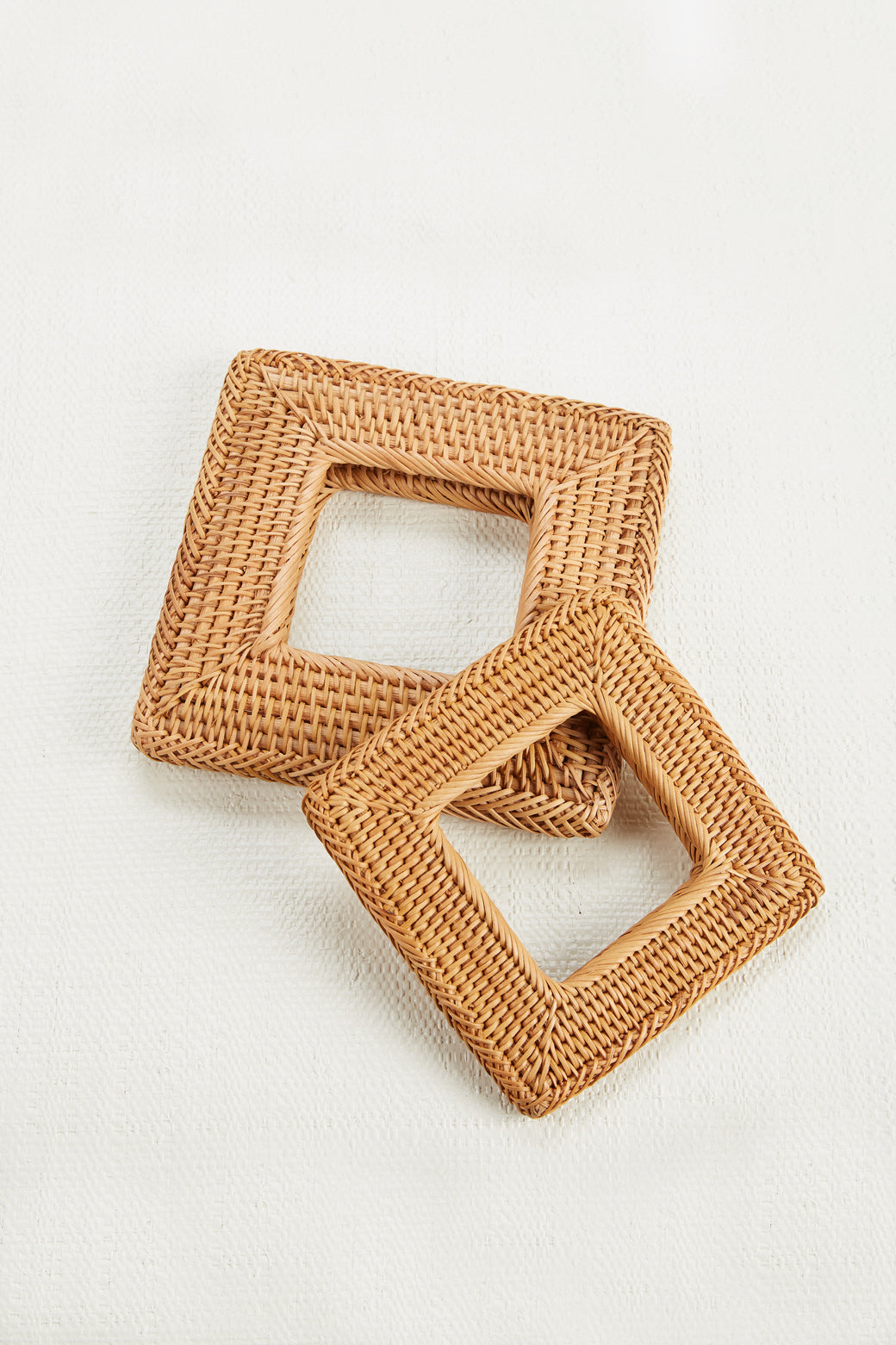 Rattan Square Bangle - Natural