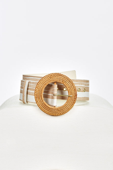 Enzo Belt - Natural Multi Stripe