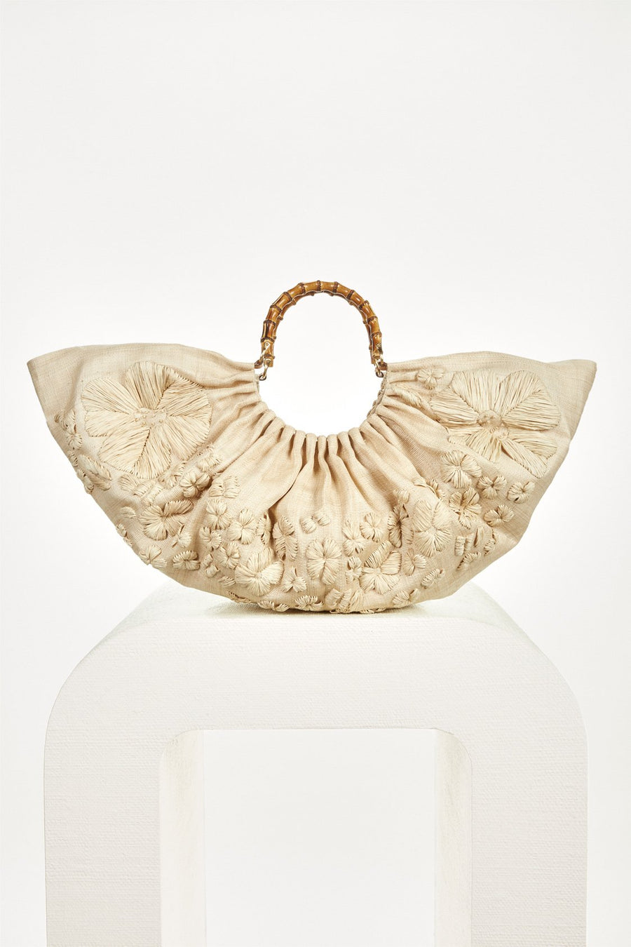 BANU LARGE BAG - NATURAL EMBROIDERED