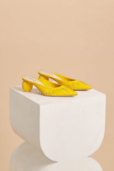 Alia Leather Mule - Marigold