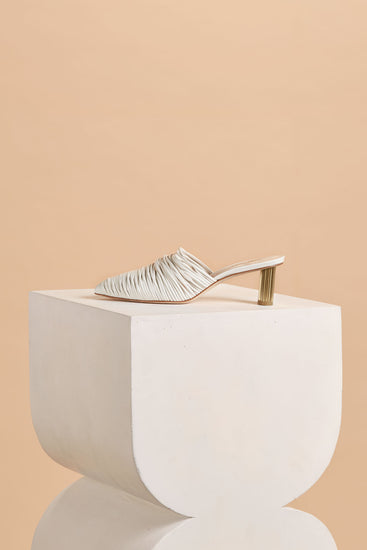 Sage Leather Mule - White