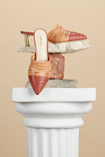 Sage Leather Mule - Peach Multi
