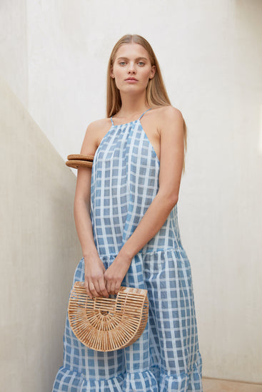 Linda Dress - Bluebell Check (PREORDER)