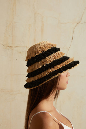 Mia Fringe Hat - Black Multi