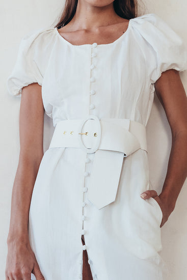 Lia Belt - Off White Linen Twill