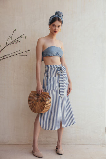 Sadie Skirt - Denim Stripe