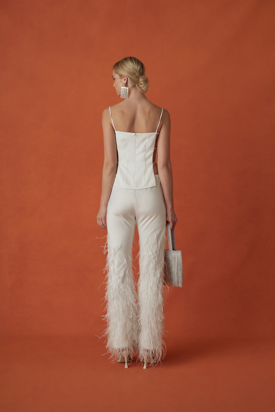 KARIS FEATHER PANT - OFF WHITE