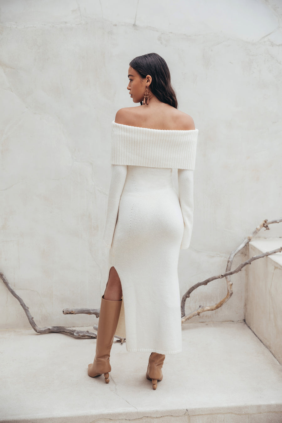 MARIEL KNIT DRESS - OFF WHITE