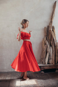 Sistra Skirt - Fire Coral