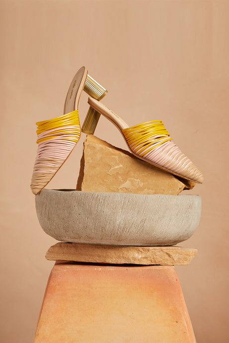 Sage Leather Mule - Sunset Ombre