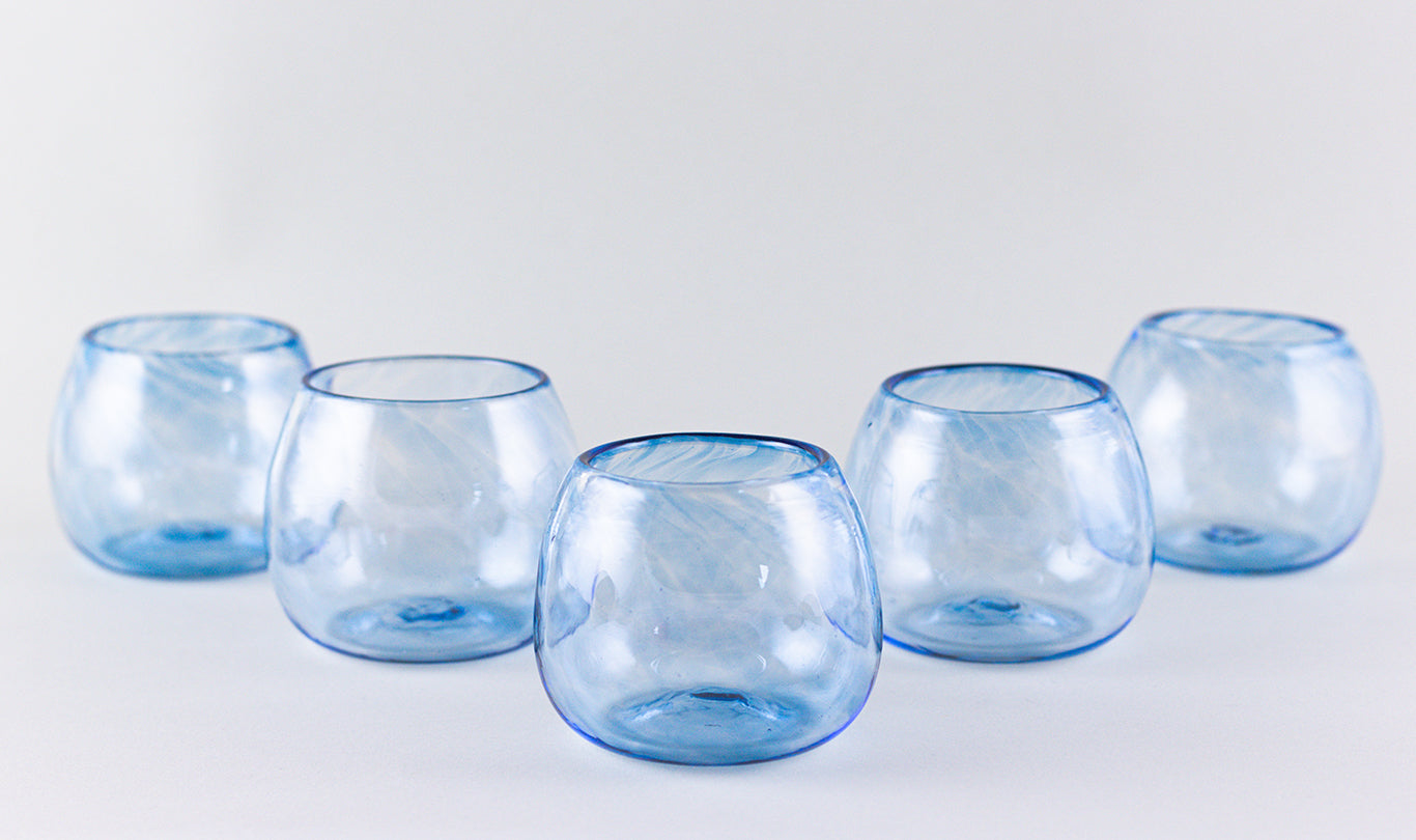 Set of 2 wine glasses, blue