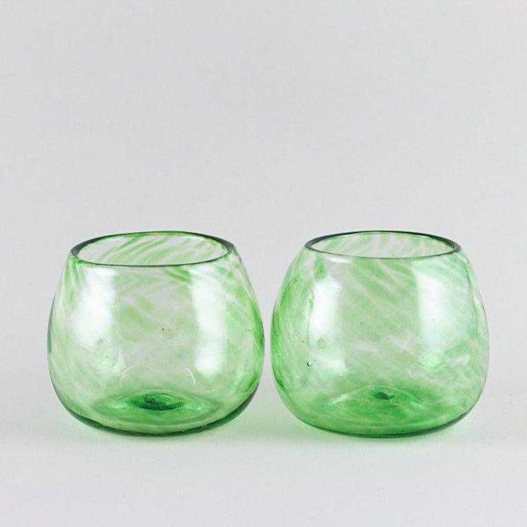 Set of 2 wine glasses, green
