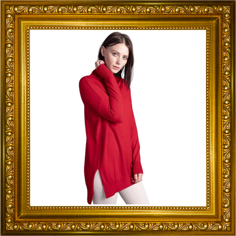 Lisa- Womens Pure Extra Fine Merino Wool Oversized Polo Neck Jumper