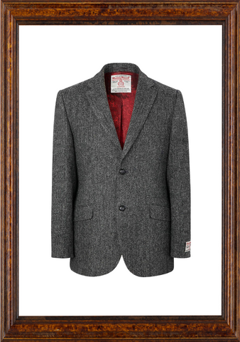 Mens Harris Tweed Jacket - Charcoal